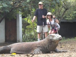 Steve, Sheila and Komodo Dragon on Rinca Island, Indonesia