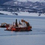 dredging or oil on the approach to Hammerfest, Norway