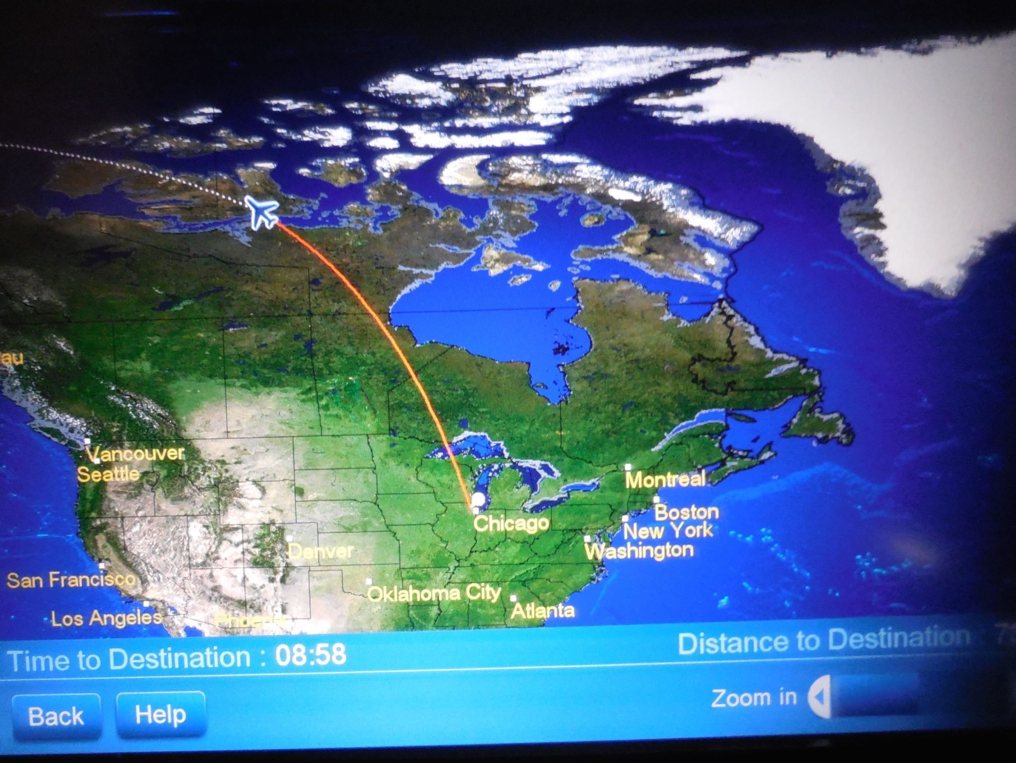 United Airlines Boeing  Business Class ChicagoBeijing - Chicago map gps
