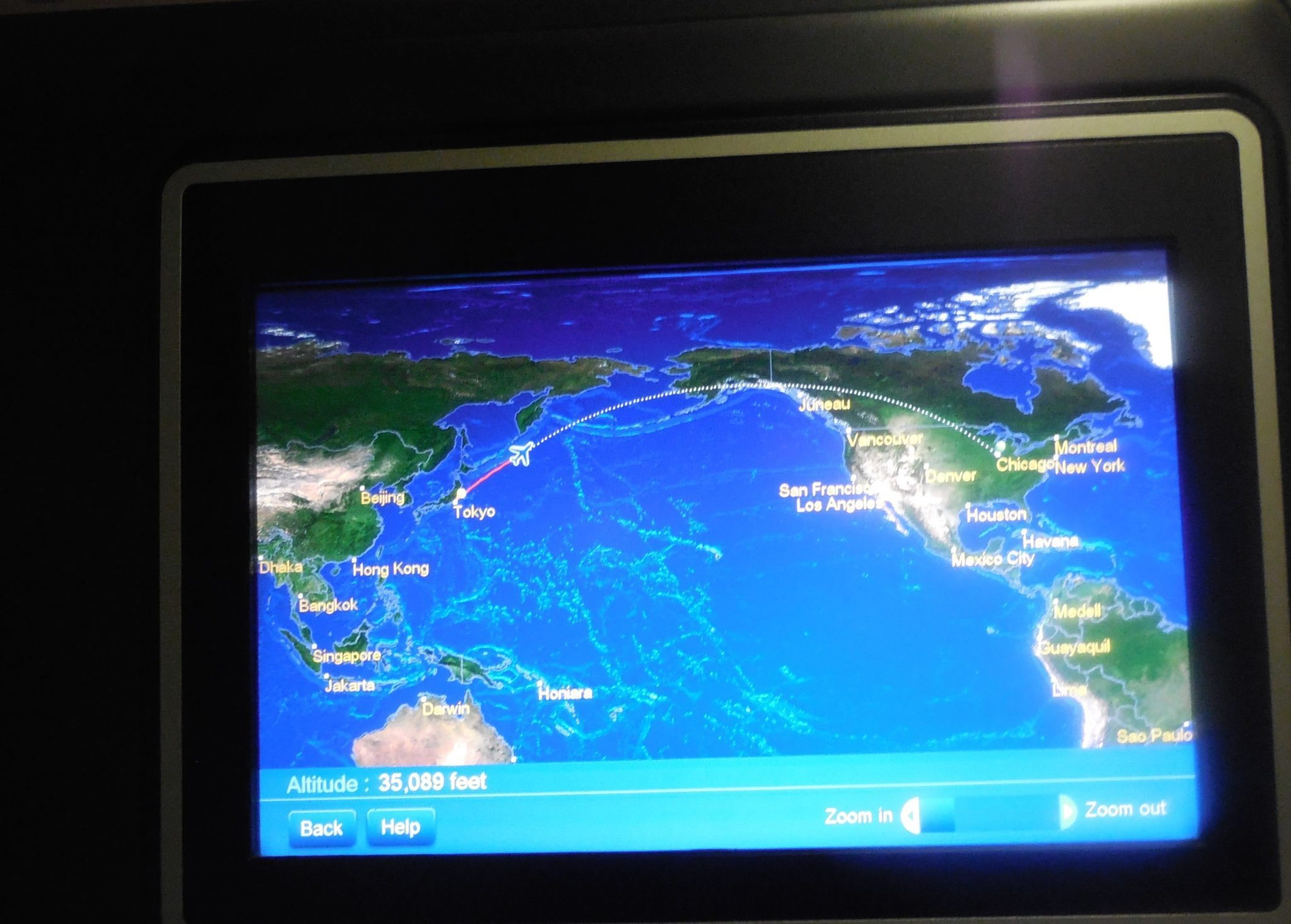 United Airlines Business Class Upper Deck  Tokyo To Chicago - Chicago map gps