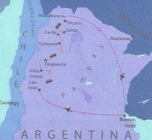 tour route through Hidden North Argentina
