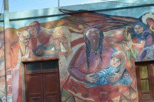 town artwork in Humahuaca, Argentina