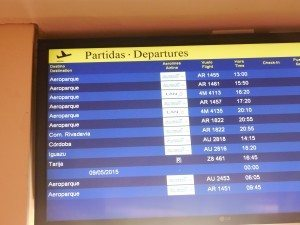 Salta, Argentina airport departure board