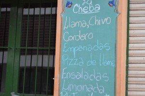 llama on the menu in Tilcara